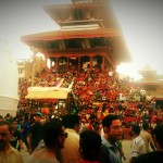 People waiting to watch indrajatra